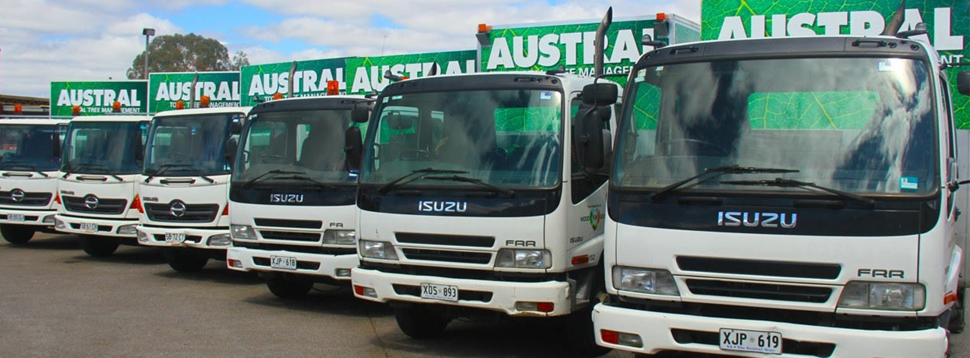 Six Austral Tree Solutions trucks parked beside each other